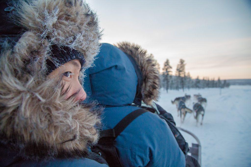 Morning ride with Active Lappland dogsled ride in Jukkasjärvi.